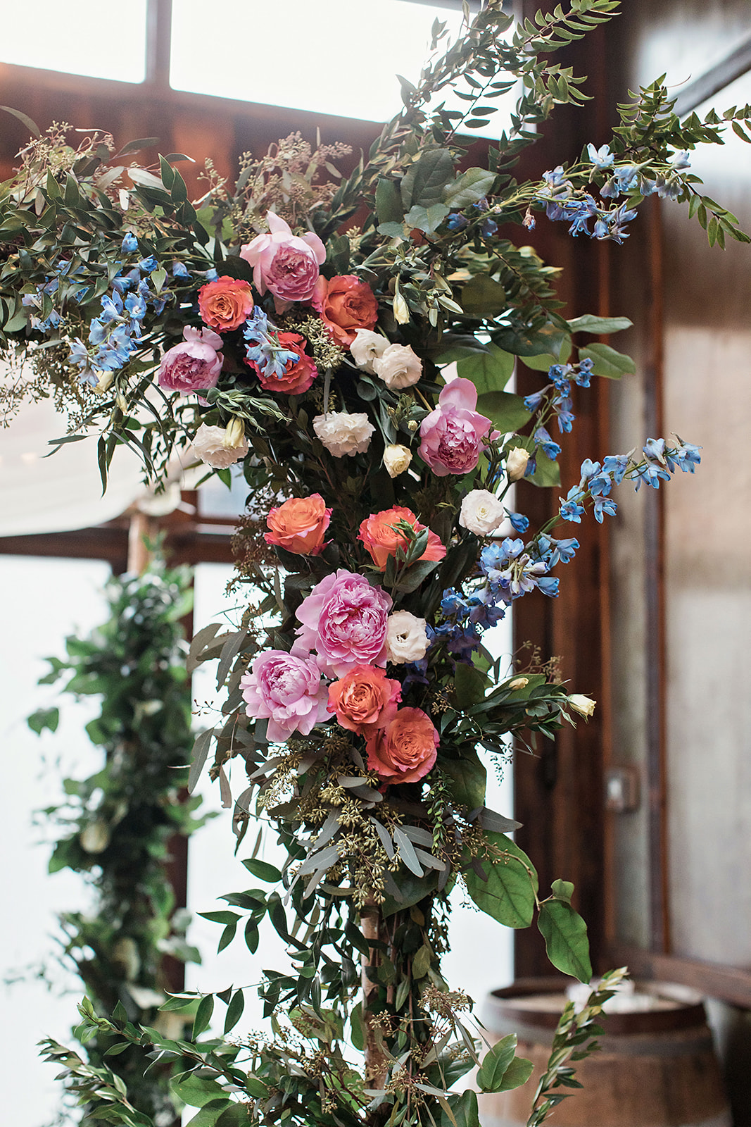 Chuppah Detail with Pink and Blue Flowers