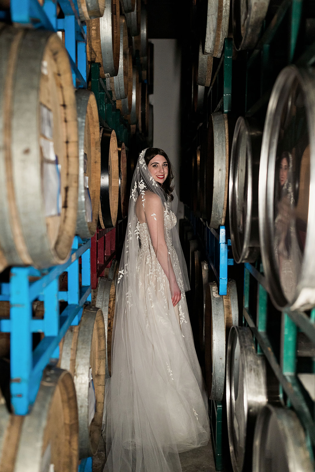 Bride with Wine Barrels