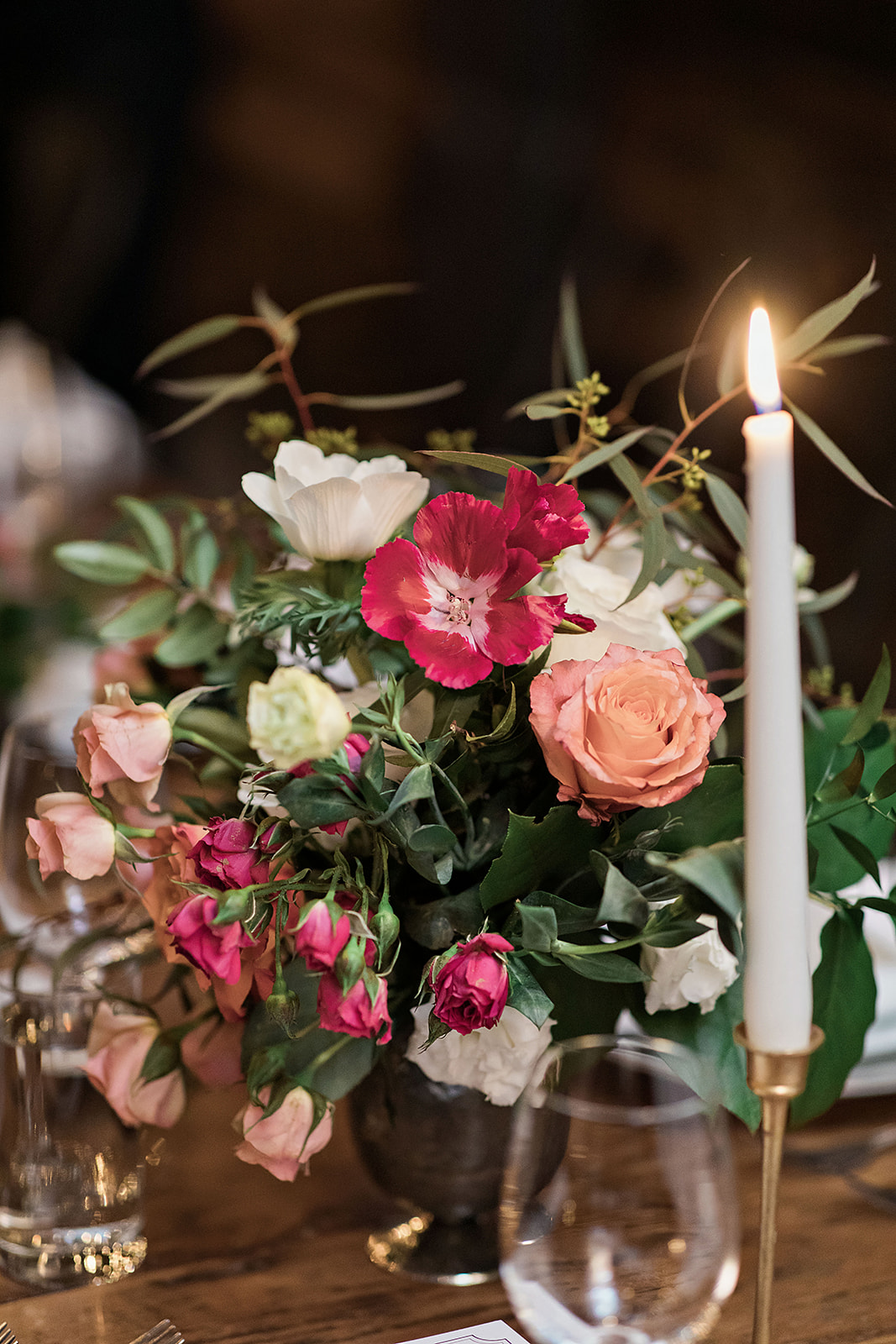Pink and Red Centerpiece with Taper Candle