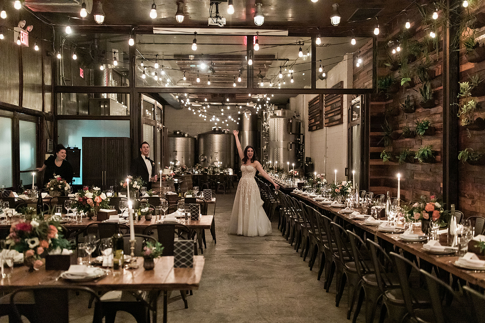 Bride Happy in the Brooklyn Winery Atrium